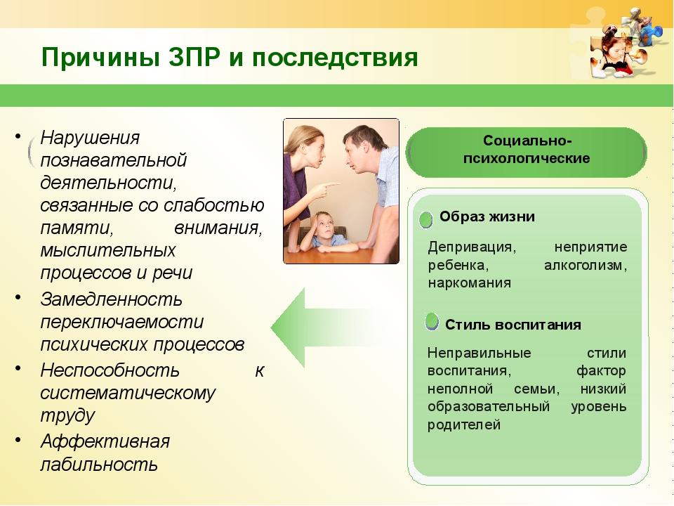Причины ЗПР и последствия Нарушения познавательной деятельности, связанные со...