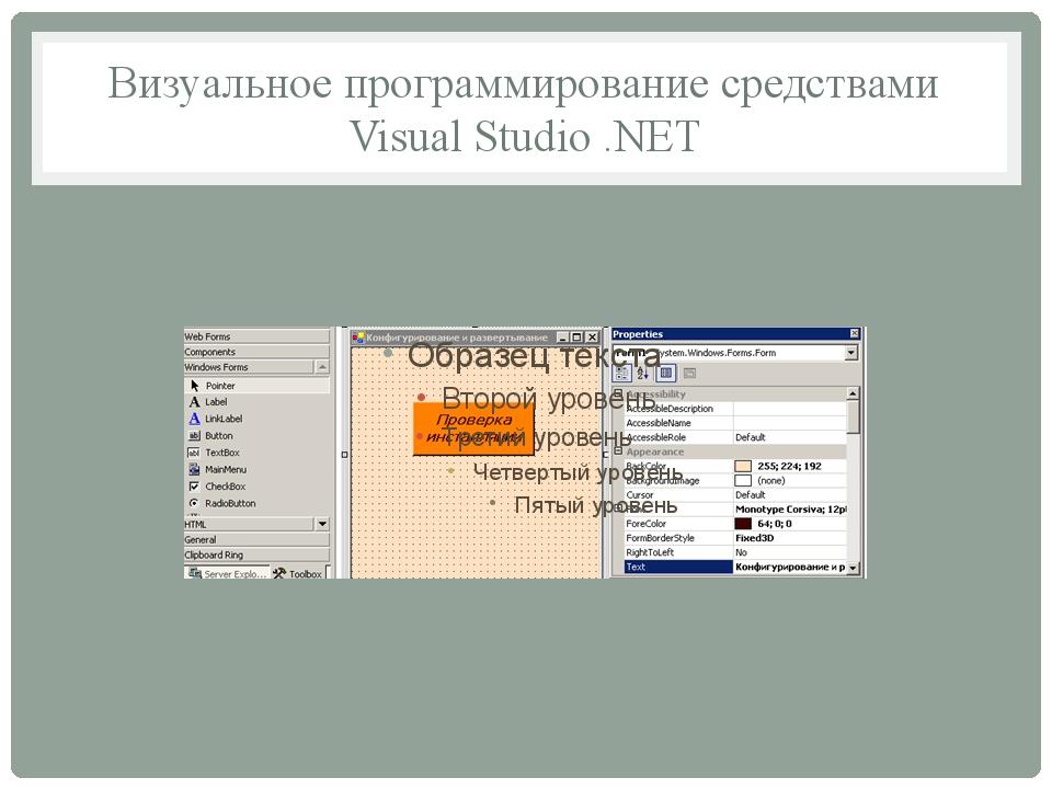 Визуальное программирование средствами Visual Studio .NET