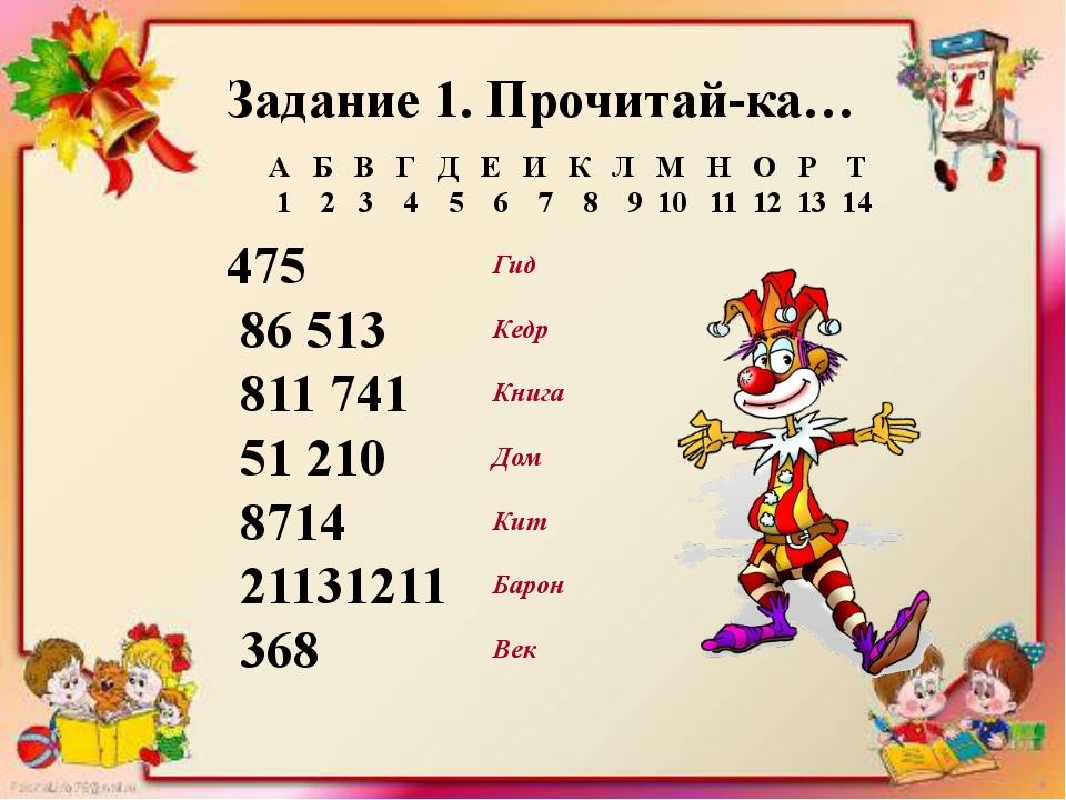 Задание 1. Прочитай-ка… 475 86 513 811 741 51 210 8714 21131211 368 Гид Кедр...
