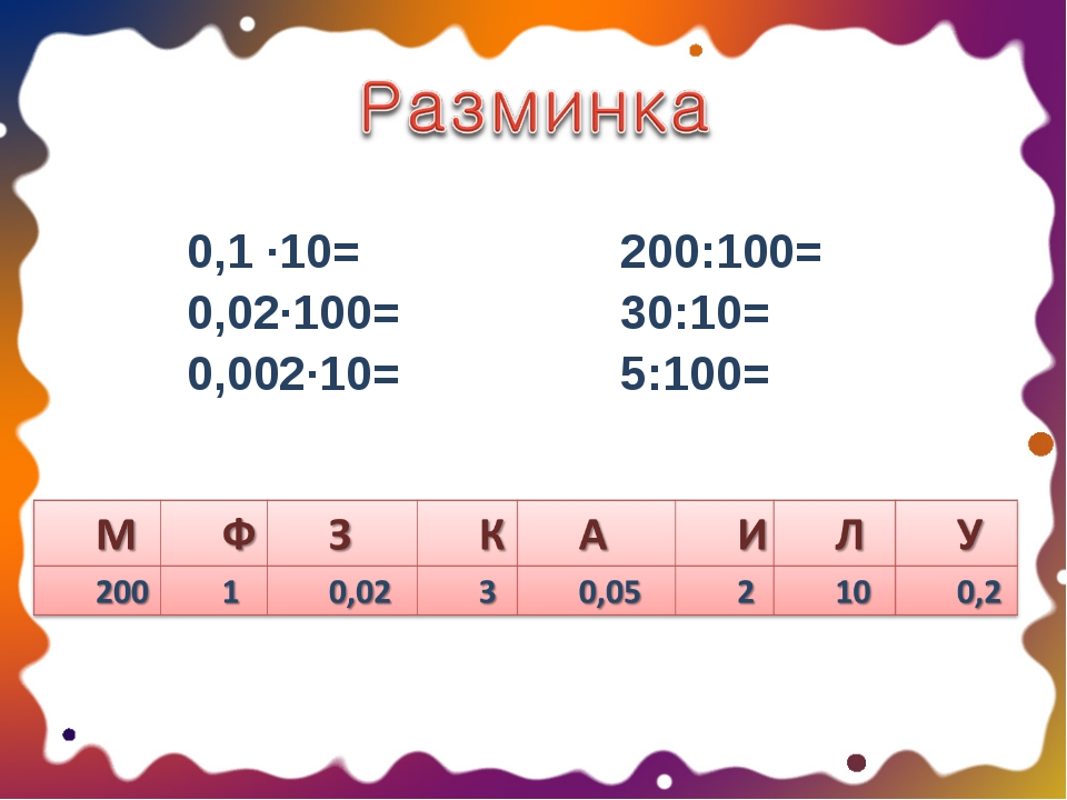 0,1 ·10= 0,02·100= 0,002·10=200:100= 30:10= 5:100=