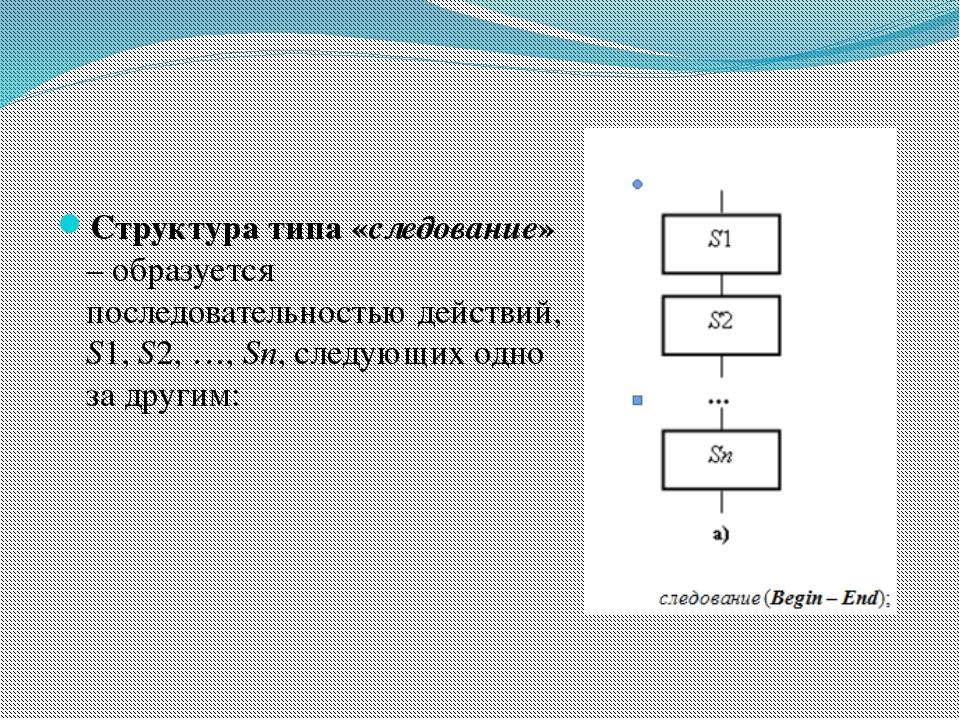 Структура типа «следование» – образуется последовательностью действий, S1, S2...
