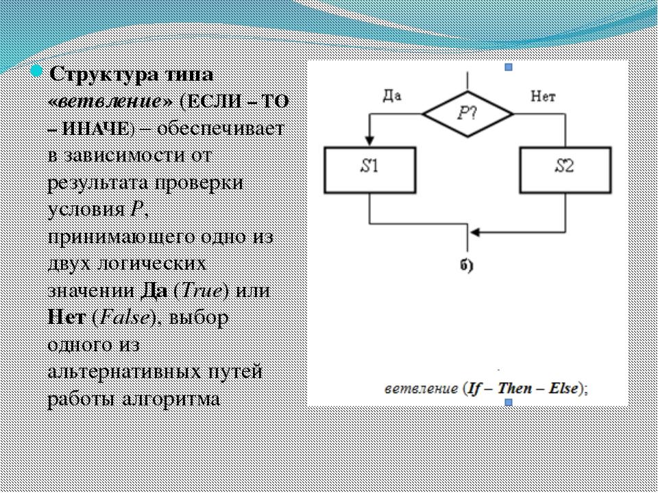 Структура типа «ветвление» (ЕСЛИ – ТО – ИНАЧЕ) – обеспечивает в зависимости о...