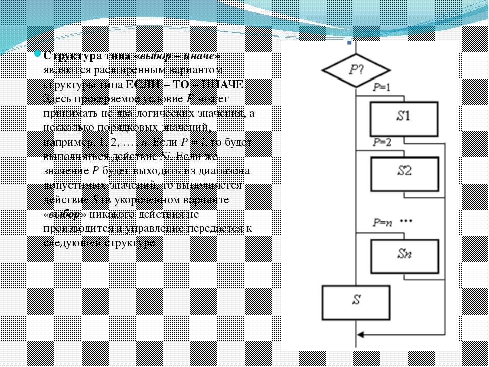 Структура типа «выбор – иначе» являются расширенным вариантом структуры типа...