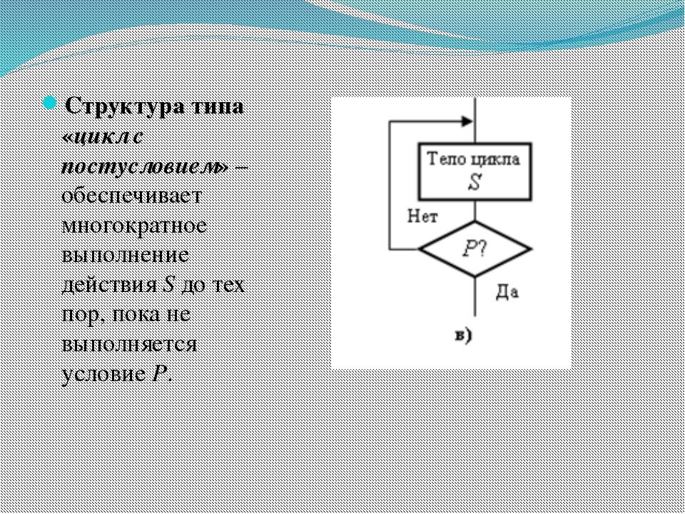Структура типа «цикл с постусловием» – обеспечивает многократное выполнение д...