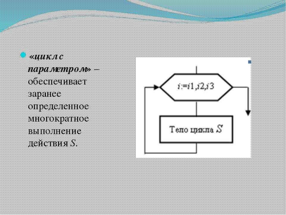 «цикл с параметром» – обеспечивает заранее определенное многократное выполне...