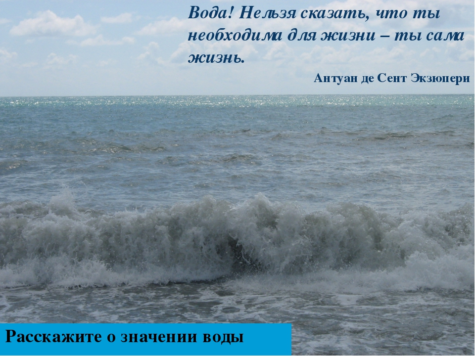 Вода! Нельзя сказать, что ты необходима для жизни – ты сама жизнь. Антуан де...