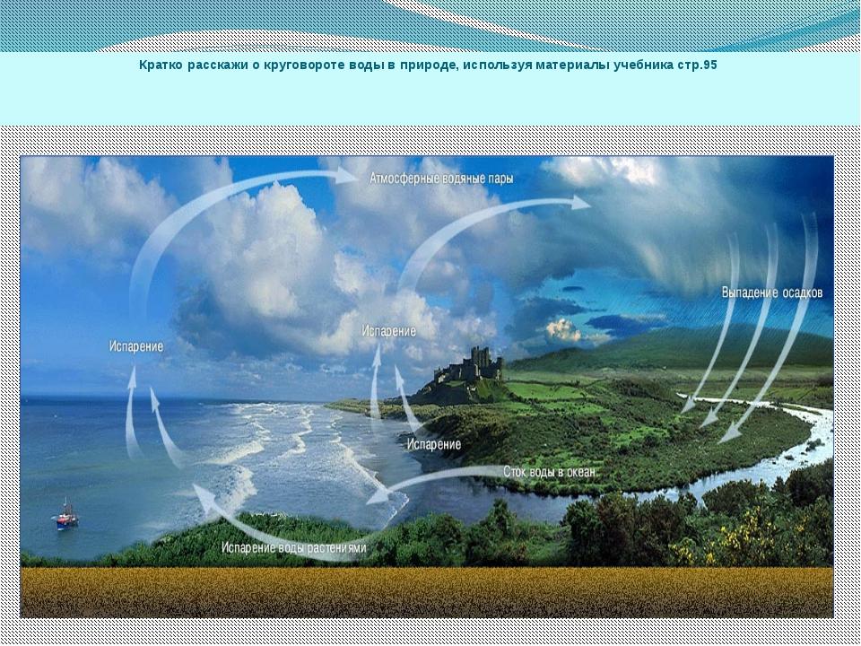 Кратко расскажи о круговороте воды в природе, используя материалы учебника ст...