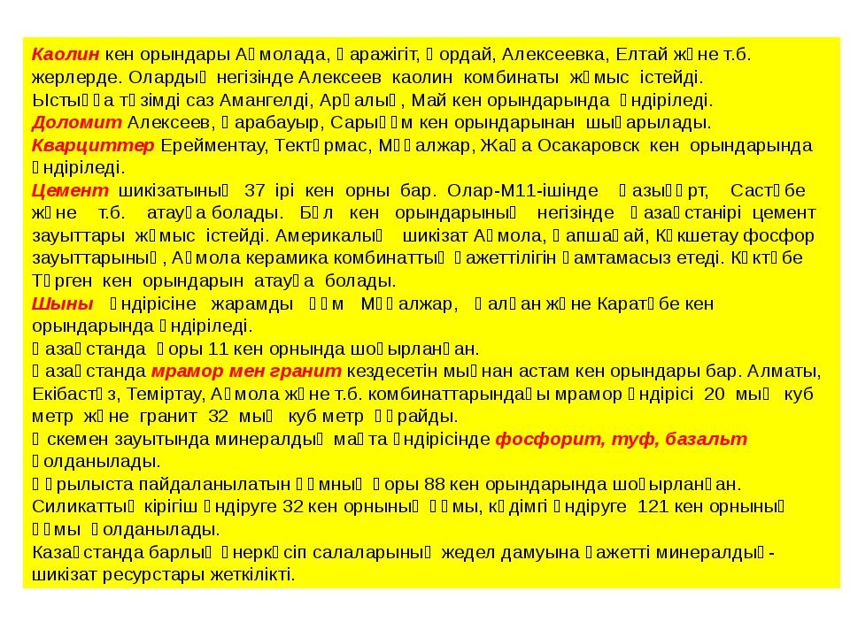 Каолин кен орындары Ақмолада, Қаражігіт, Қордай, Алексеевка, Елтай және т.б....