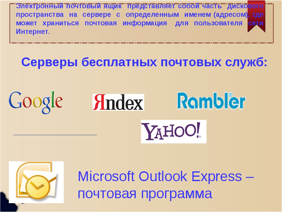 Электронный почтовый ящик представляет собой часть дискового пространства на...