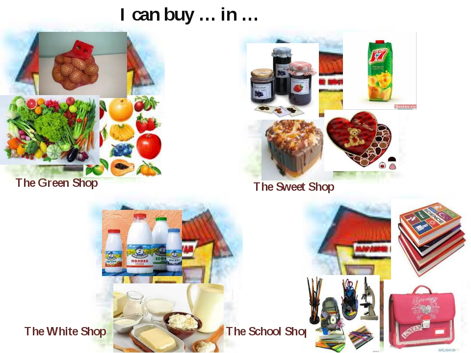 The Green Shop The White Shop The Sweet Shop The School Shop I can buy … in …