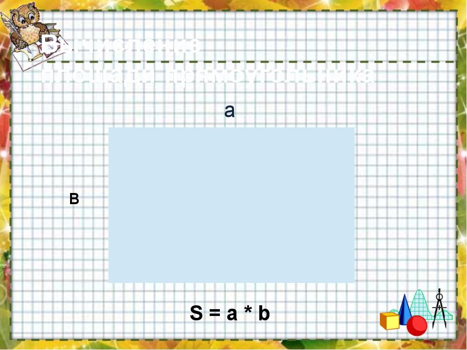 Вычисление площади прямоугольника а в S = a * b