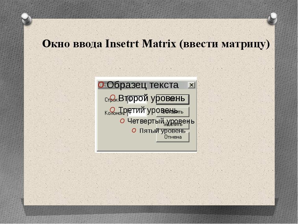 Окно ввода Insetrt Matrix (ввести матрицу)