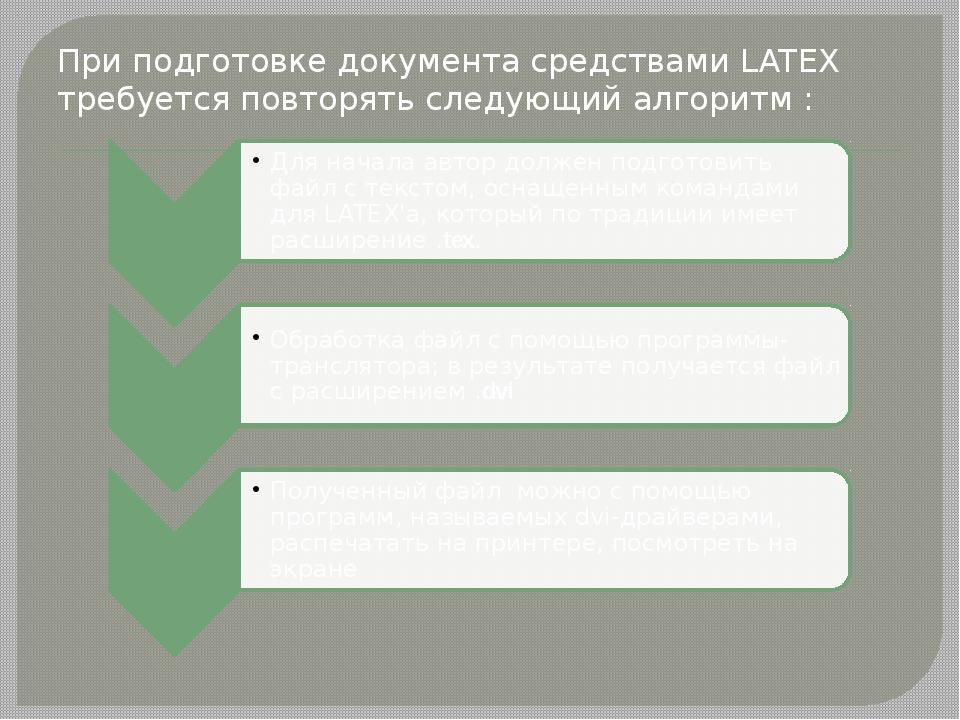 При подготовке документа средствами LATEX требуется повторять следующий алго...