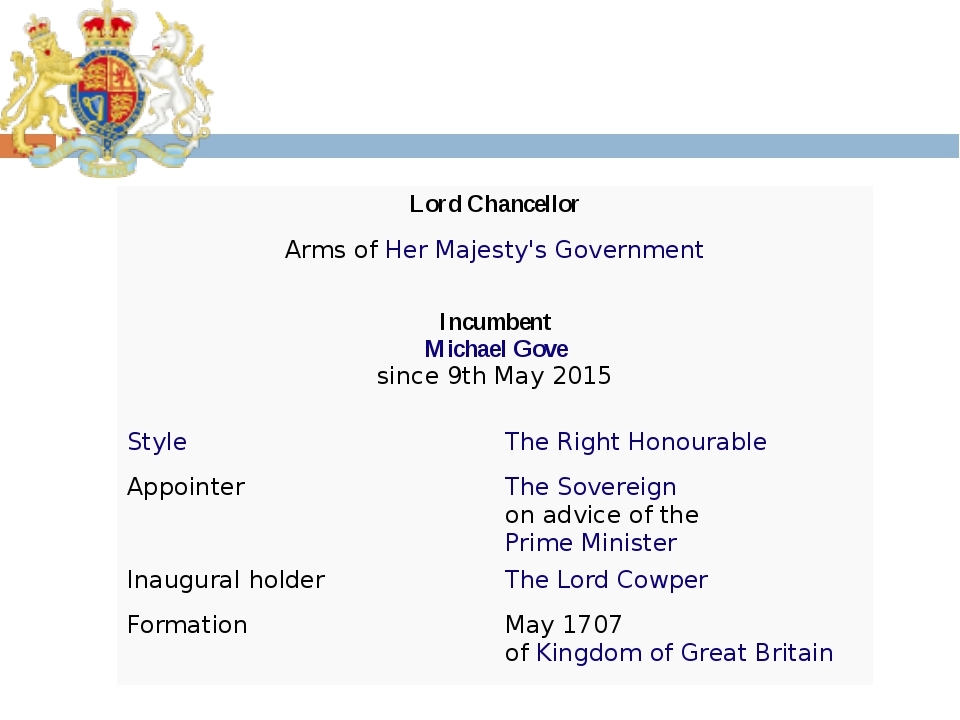 Lord Chancellor Arms of Her Majesty's Government Incumbent Michael Gove since...