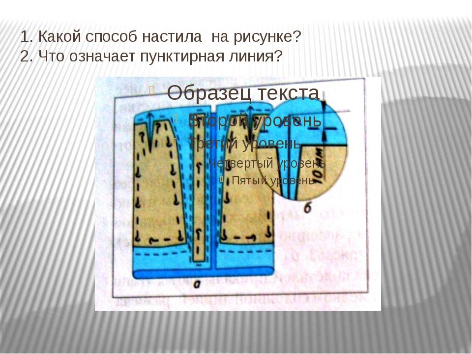 1. Какой способ настила на рисунке? 2. Что означает пунктирная линия?