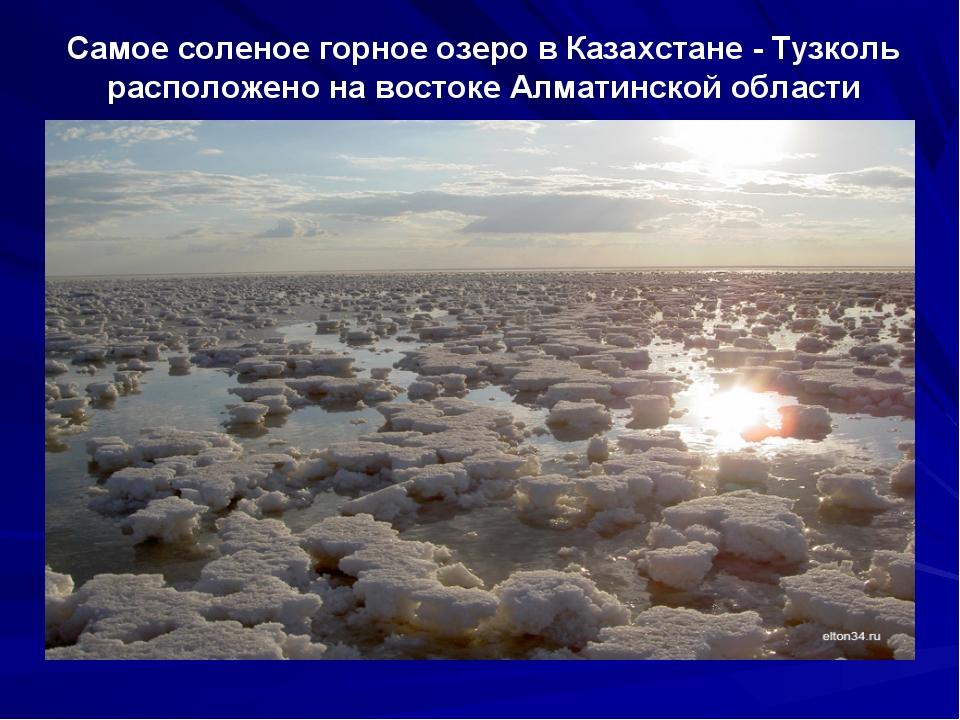 Самое соленое горное озеро в Казахстане - Тузколь расположено на востоке Алма...
