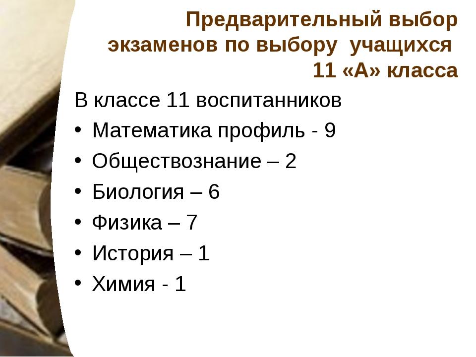 Предварительный выбор экзаменов по выбору учащихся 11 «А» класса В классе 11...