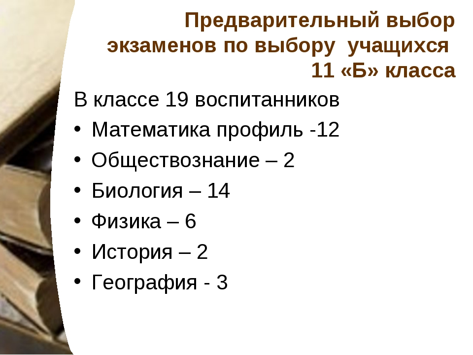 Предварительный выбор экзаменов по выбору учащихся 11 «Б» класса В классе 19...