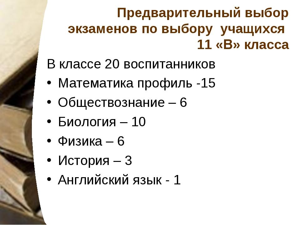 Предварительный выбор экзаменов по выбору учащихся 11 «В» класса В классе 20...