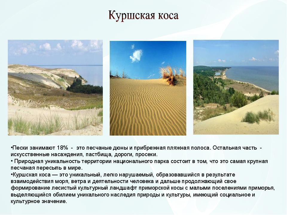 Пески занимают 18% - это песчаные дюны и прибрежная пляжная полоса. Остальная...