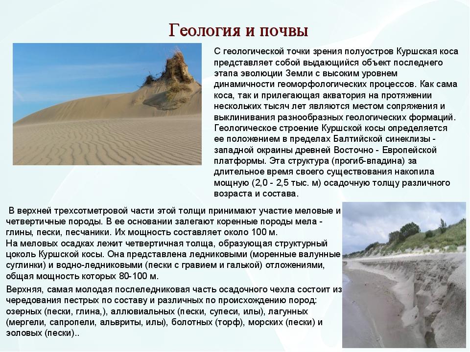 Геология и почвы С геологической точки зрения полуостров Куршская коса предст...