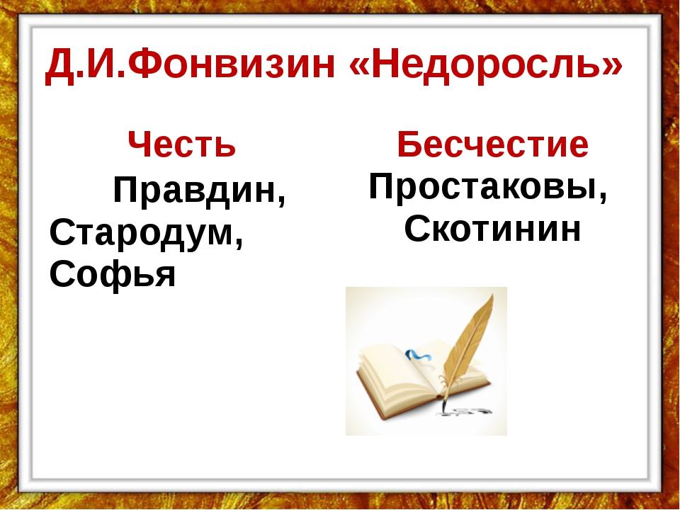 Д.И.Фонвизин «Недоросль» Честь Правдин, Стародум, Софья Бесчестие Простаковы,...