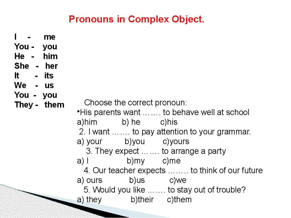 Pronouns in Complex Object. I - me You - you He - him She - her It - its We -...