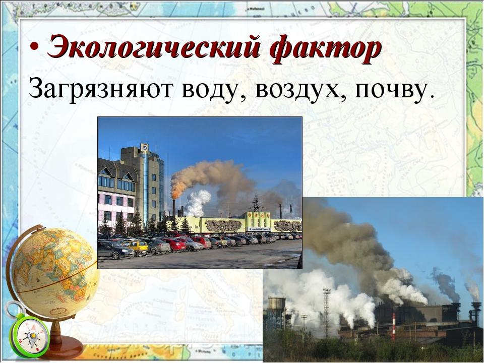 Экологический фактор Загрязняют воду, воздух, почву.