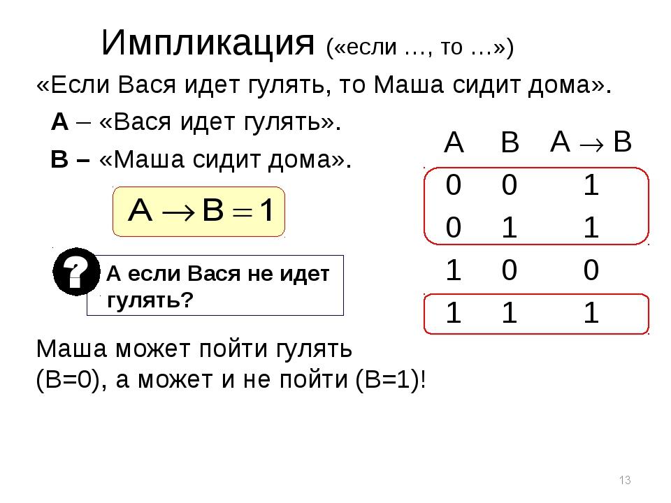 * Импликация («если …, то …») «Если Вася идет гулять, то Маша сидит дома». A...