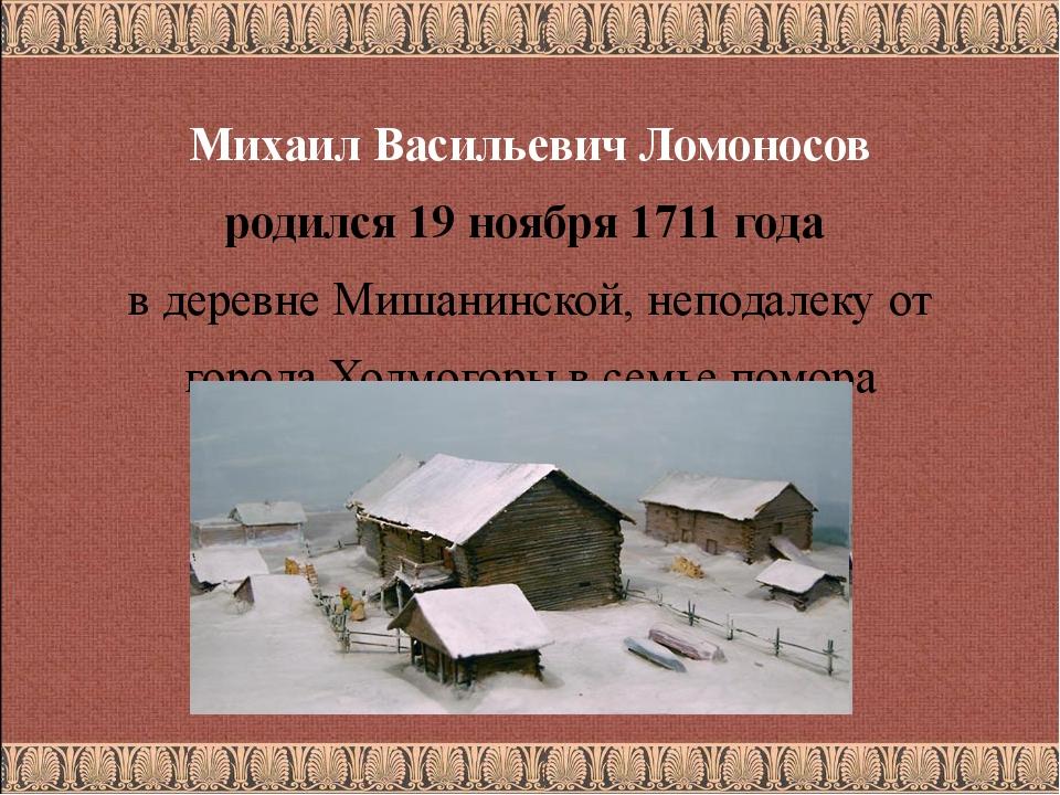 Михаил Васильевич Ломоносов родился 19 ноября 1711 года в деревне Мишанинско...