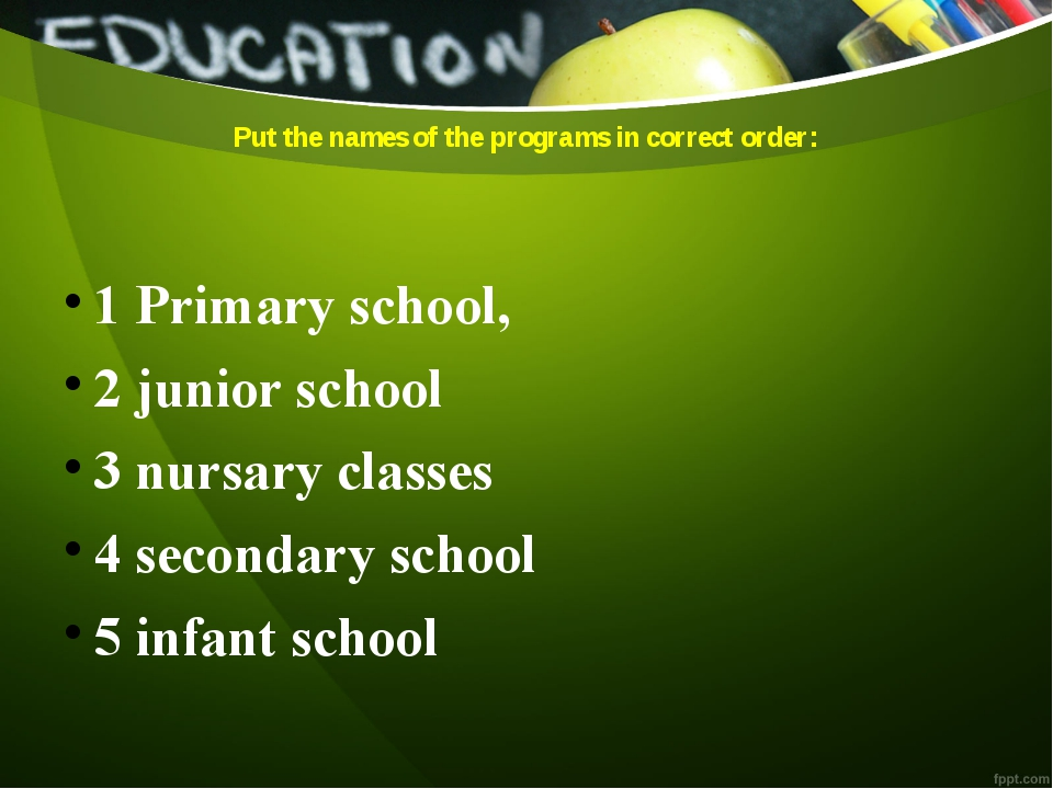Put the names of the programs in correct order: 1 Primary school, 2 junior sc...
