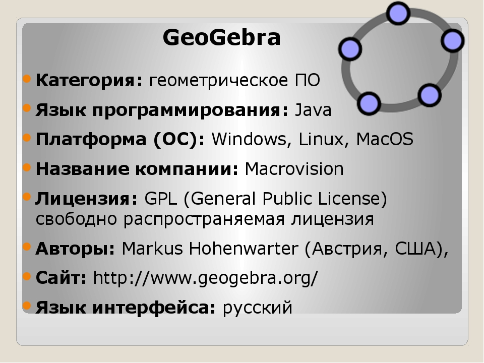 GeoGebra Категория:геометрическое ПО Язык программирования:Java Платформа (...