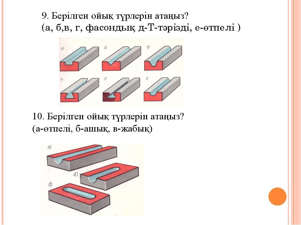 9. Берілген ойық түрлерін атаңыз? (а, б,в, г, фасондық д-Т-тәрізді, е-өтпелі...
