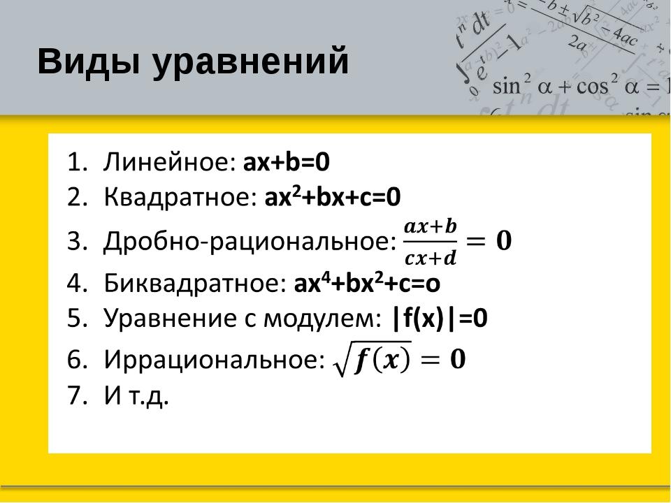 Виды уравнений