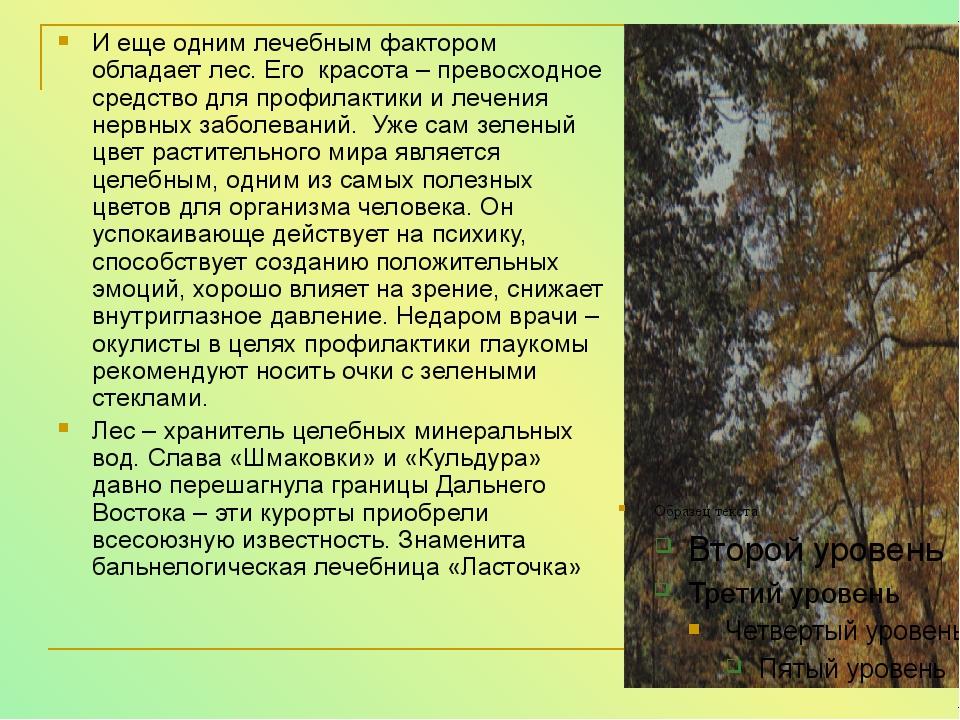 И еще одним лечебным фактором обладает лес. Его красота – превосходное средст...