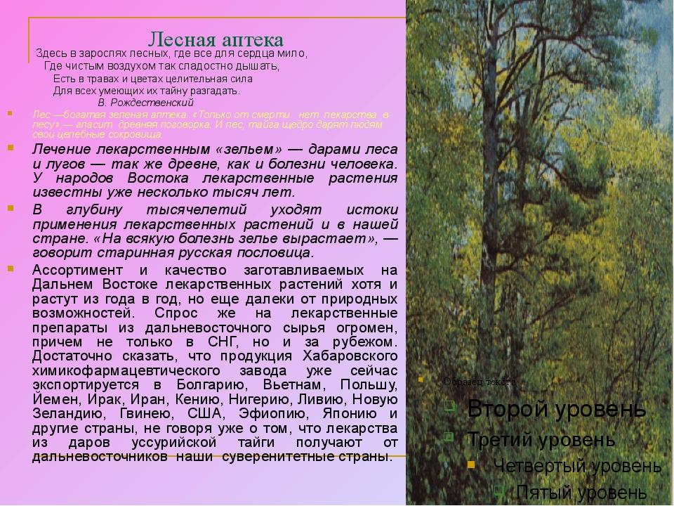 Лесная аптека Здесь в зарослях лесных, где все для сердца мило, Где чистым во...