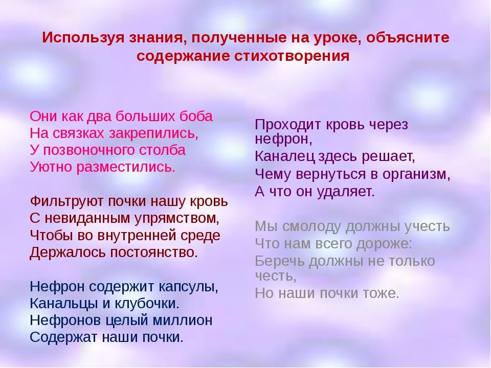 Используя знания, полученные на уроке, объясните содержание стихотворения Они...