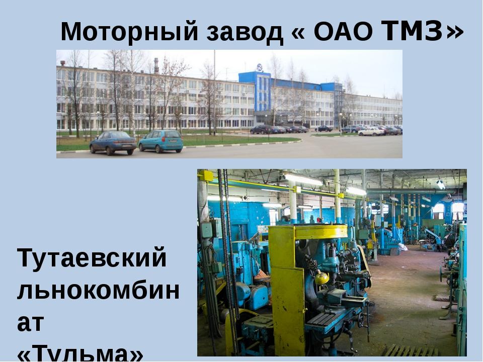 Тутаевский льнокомбинат «Тульма» Моторный завод « ОАО ТМЗ»