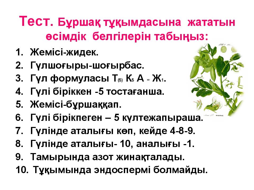 Тест. Бұршақ тұқымдасына жататын өсімдік белгілерін табыңыз: Жемісі-жидек. Гү...
