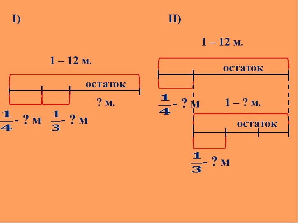 I) остаток ? м. - ? м - ? м II) 1 – 12 м. 1 – 12 м. остаток - ? м - ? м 1 – ?...