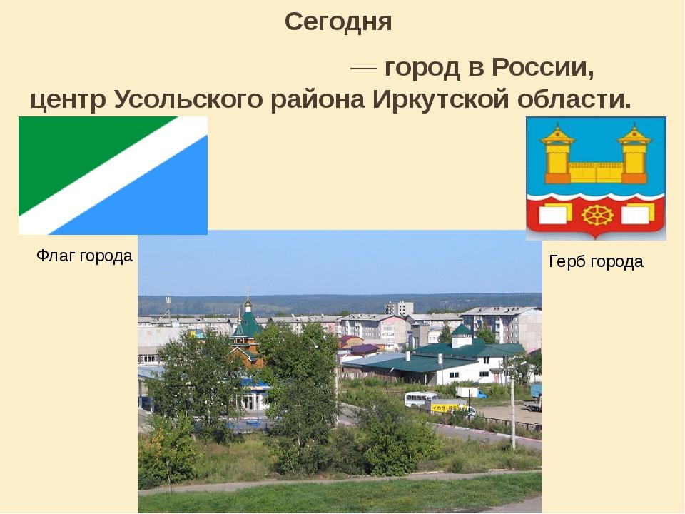 Сегодня Усо́лье-Сиби́рское— город вРоссии, центрУсольского районаИркутско...