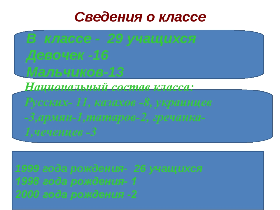 Сведения о классе В классе - 29 учащихся Девочек -16 Мальчиков-13 1999 года р...