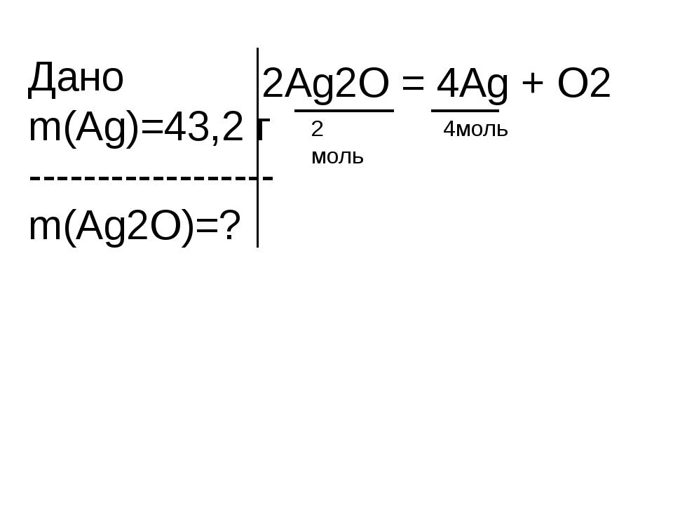Дано m(Ag)=43,2 г ------------------ m(Ag2O)=? 2Ag2O = 4Ag + O2 2 моль 4моль