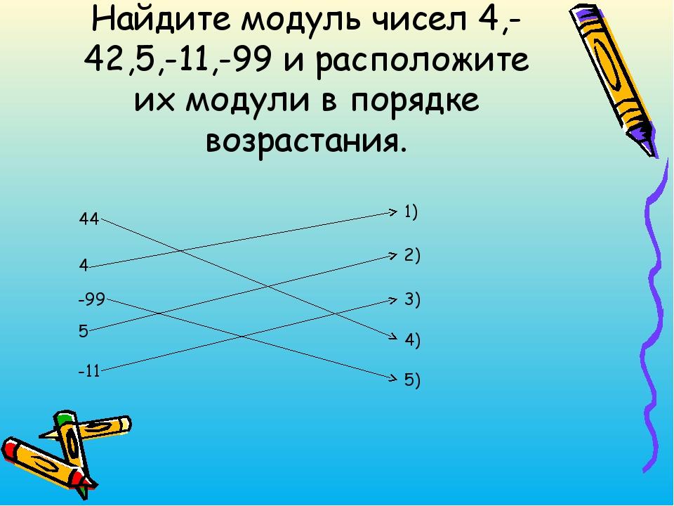 Найдите модуль чисел 4,-42,5,-11,-99 и расположите их модули в порядке возрас...