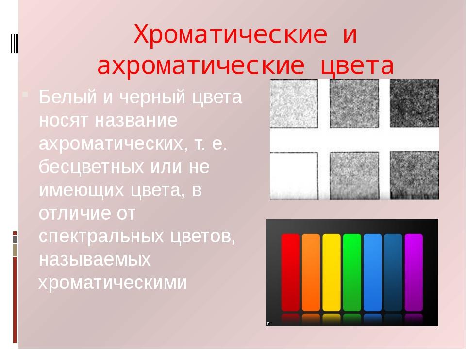 Хроматические и ахроматические цвета Белый и черный цвета носят название ахро...
