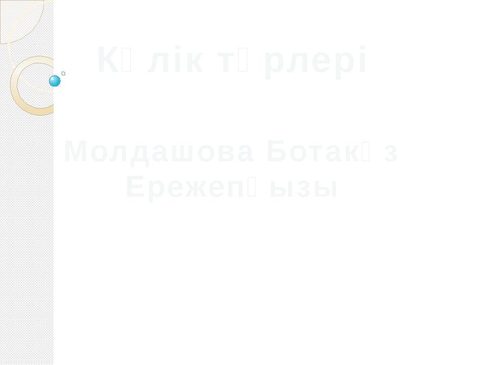 Көлік түрлері Молдашова Ботакөз Ережепқызы