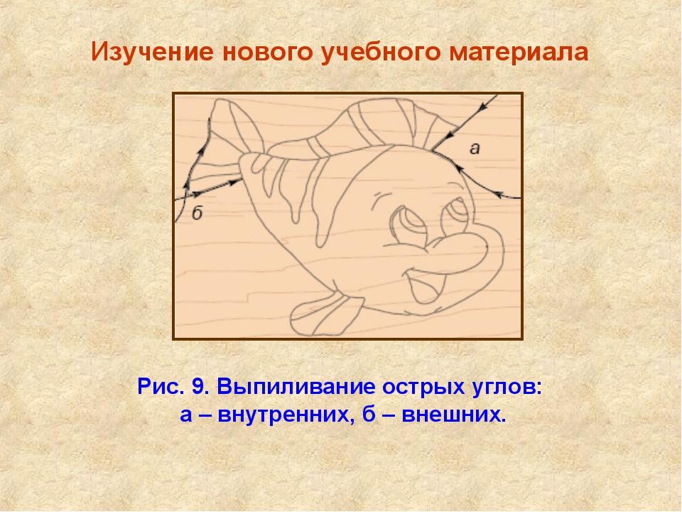 Изучение нового учебного материала Рис. 9. Выпиливание острых углов: а – вну...