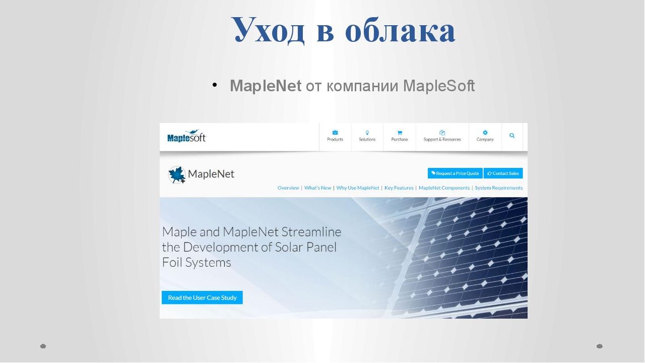 Уход в облака MapleNet от компании MapleSoft
