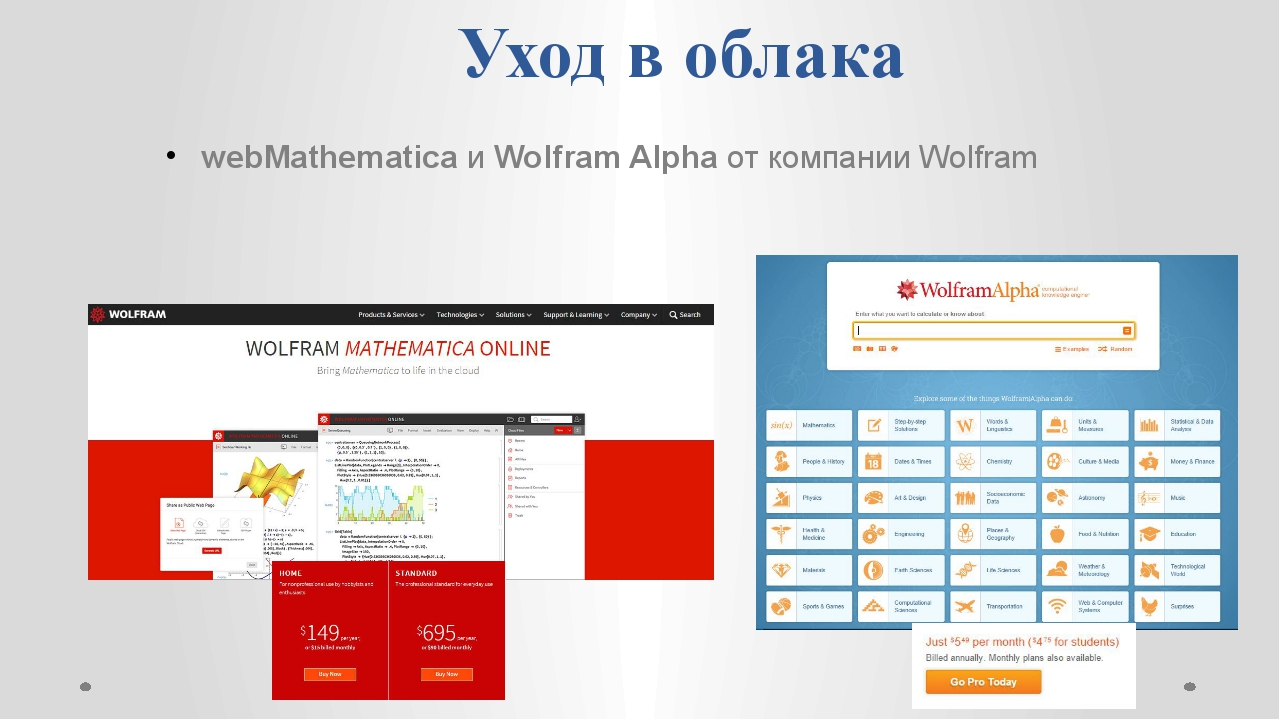 Уход в облака webMathematica и Wolfram Alpha от компании Wolfram