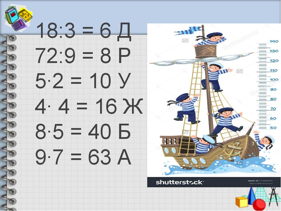 18:3 = 6 Д 72:9 = 8 Р 5∙2 = 10 У 4∙ 4 = 16 Ж 8∙5 = 40 Б 9∙7 = 63 А